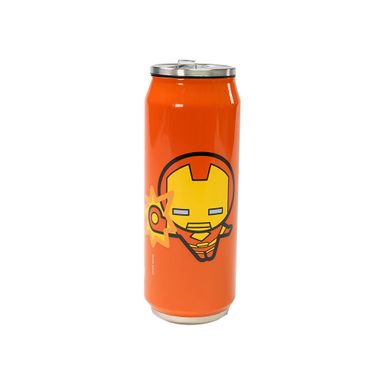 Vaso Marvel Iron Man En Forma De Lata Con Popote Incluido 400 ml