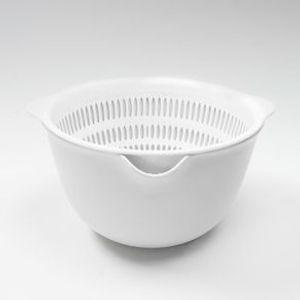 Colador en forma de canastilla, Blanco, Grande