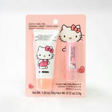 Set de bálsamo de labios + crema para manos de Hello Kitty, Rosa, Mediano