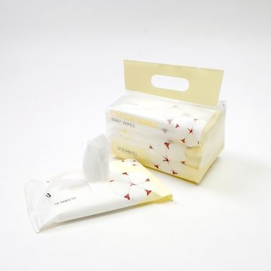 Paquete De Toallas Humedas Para Bebe Cotton Series Blanco 60 Toallitas
