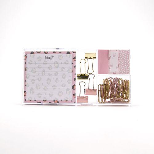 Set de papelería, Rosa/dorado, Mediano