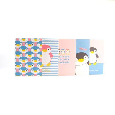 Paquete De Libreta De Notas   Pingüino De Rayas Blanca y Puntos   Multicolor 12.2X8.5X1.7cm       5 Piezas