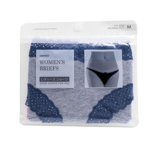 Calzón De Algodón Para Mujer Con Encaje Azul (Gris) L