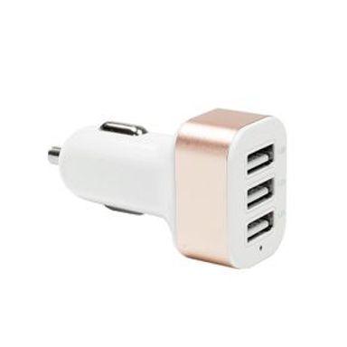 Cargador De Auto  Con 3 Puertos USB Rosa