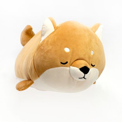 Peluche cilíndrico de perro Shiba, Café, Grande