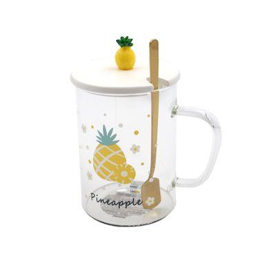 Tarro De Vidrio Fruit Series Diseño De Piña Con Cuchara Para Mezclar 450 ml