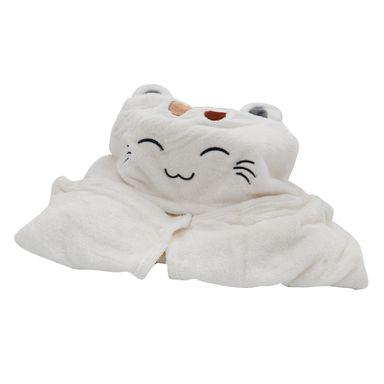 Cobija Gato Con Capucha Blanca