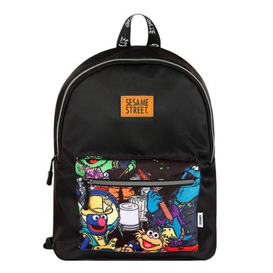 Mochila Sesame Street Escolar Con Bolsa Frontal Diseño Cartoon, Negro