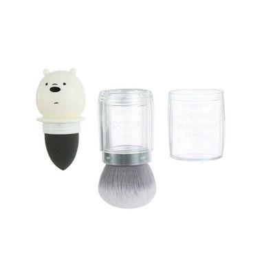 Brocha De Maquillaje We Bare Bears Polar 2 en 1 Kabuki Y Esponja