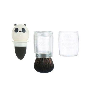 Brocha De Maquillaje We Bare Bears Panda 2 en 1 Kabuki Y Esponja