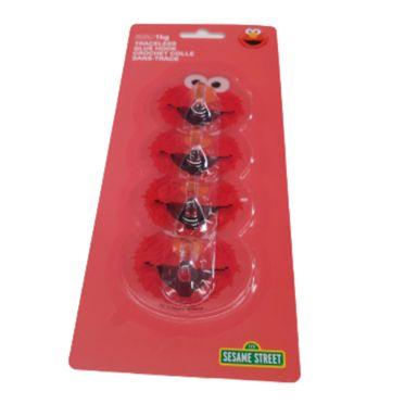 Paquete de Ganchos Adhesivos Sesame Street Elmo Rojo 4 Piezas
