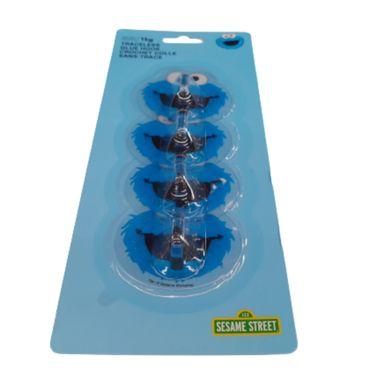 Paquete de Ganchos Adhesivos Sesame Street Come Galletas Azul 4 Piezas