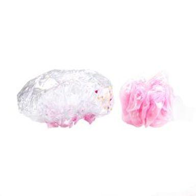 Set De Baño Esponja Y Gorro Diseño Confeti Rosa 2  Piezas