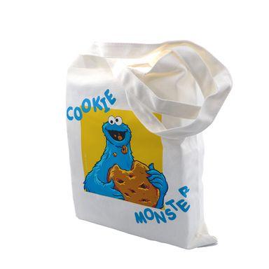 Bolsa Para Compras Sesame Street Come Galletas Plástico Blanco 39.9X33X2.8cm