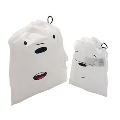 Set De Bolsas De Viaje We Bare Bears Polar Con Cordón Plástico Blanco 29X24X1.6cm 2 Piezas