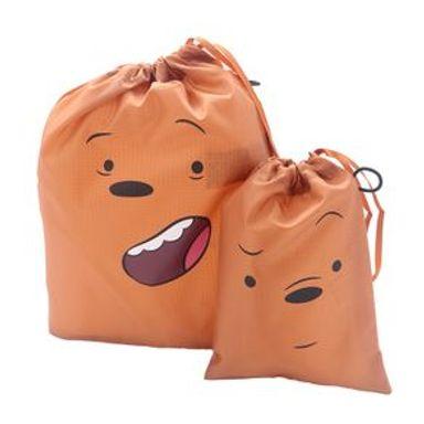 Set De Bolsas De Viaje We Bare Bears Pardo Con Cordón Plástico Café 29X24X1.6cm 2 Piezas