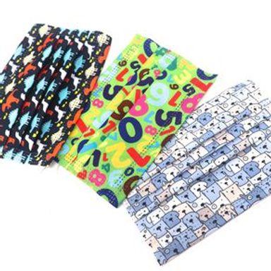 Paquete De Cubrebocas Reutilizables Para Niños. Diseños Mixtos Tela 3 Piezas