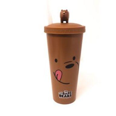 Vaso Con Popote We Bare Bears Pardo Figura En Tapa Plástico Café 640 ml