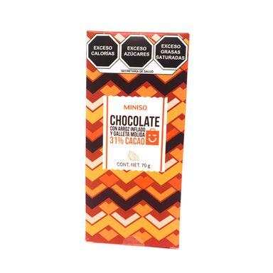 Barra De Chocolate Con Leche Con Arroz Inflado Y Galleta Molida 31% Cacaco 70 gr