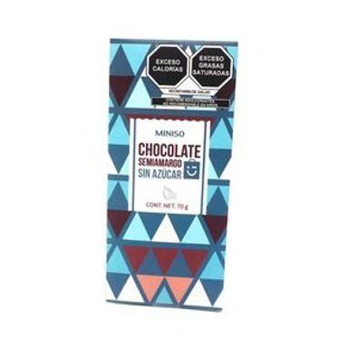 Barra De Chocolate Semiamargo Sin Azúcar 70 gr