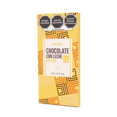 Barra De Chocolate Con Leche Entera 70 gr