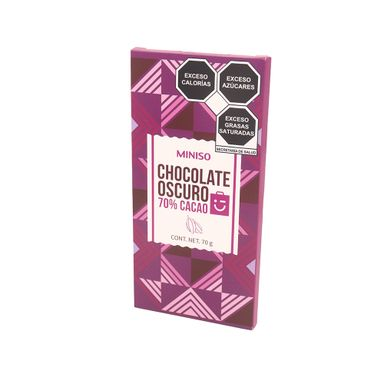 Barra De Chocolate Oscuro 70% Cacao 70 gr