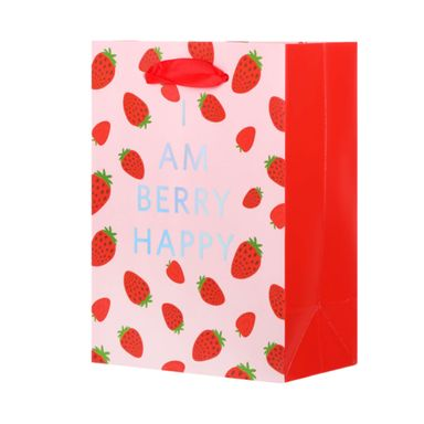 Bolsa Para Regalo Con Estampado Fruit Series Fresa Papel Rosa 14X19X0.01cm