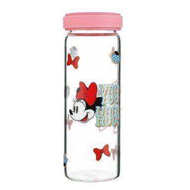 Cilindro Disney Minnie Mouse Con Tapa Vidrio Rosa 300 ml