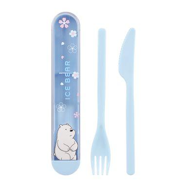 Set De Cubiertos Con Estuche We Bare Bears Polar Plástico Azul 3 Piezas
