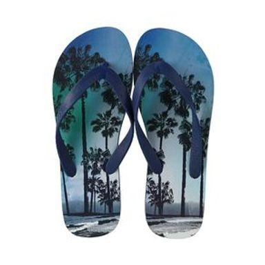 Sandalias Para Hombre Hojas Tropicales Azul 26.5-27CM