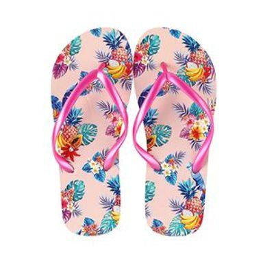 Sandalias Para Mujer Hojas Tropicales Rosas 24-25CM