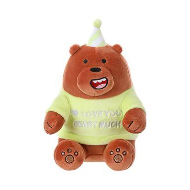 Peluche We Bare Bears Pardo Con Gorro De Cumpleaños 17.7X12.3X12.5CM