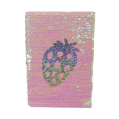 Libreta Rayada Con Lentejuelas Fruit Series Fresa Rosa 80 Hojas