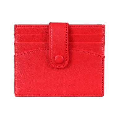 Tarjetero Para Mujer Sencillo Con Broche Rojo 10.8X9.7X2CM
