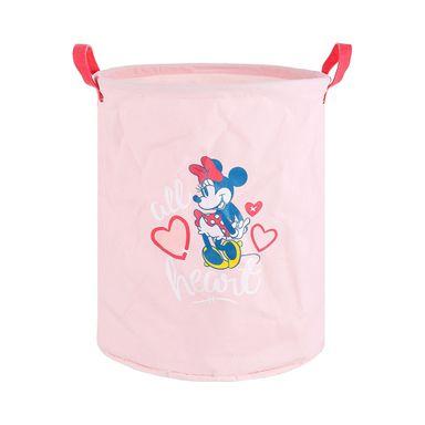 Organizador Disney Minnie Mouse Cilíndrico Tela Rosa 33X40X1cm