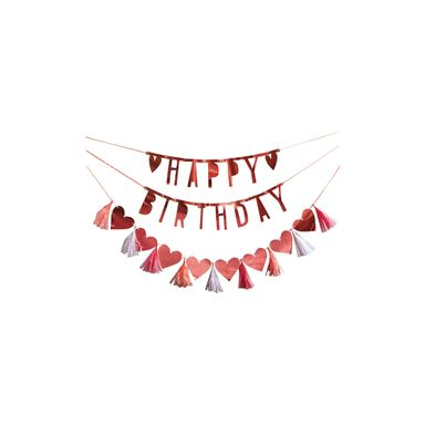 Adorno Para Fiesta Con Leyenda de Happy Birthday Rosa  Papelería