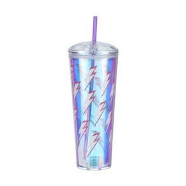 Vaso Con Popote Rayo Plástico Morado 800 ml