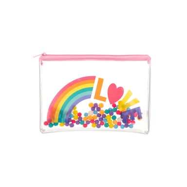 Lapicera Con Pompones Arcoíris Plástico Rosa 25X17CM