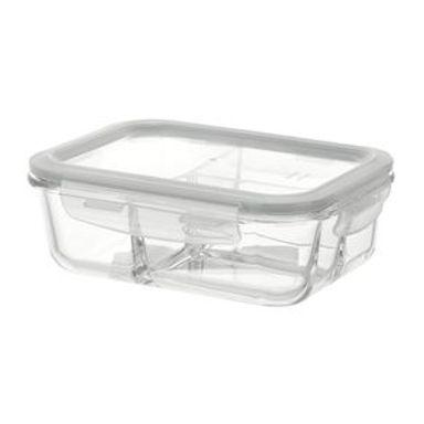 Contenedor De Alimentos Con Tapa Y Separaciones Blanco 910 ml