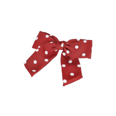 Moño Para Cabello Con Broche Puntos Rojo