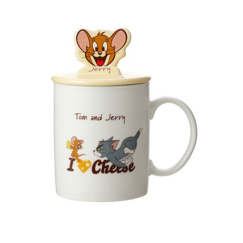 Taza Con Tapa Tom & Jerry Jerry Cerámica Amarillo 340 ml