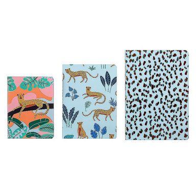 Paquete De Cuadernos Rayados Con Diseños Mixtos Leopardo Amarillo