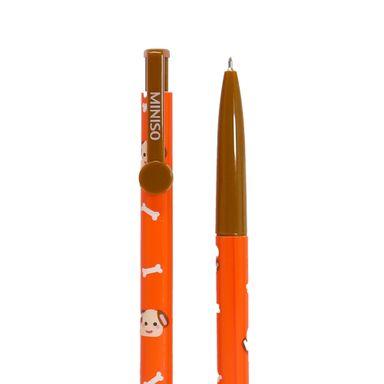 Set De Plumas De Gel Tinta Azul .38 mm Mod B-13 Perro Naranja 2 Piezas