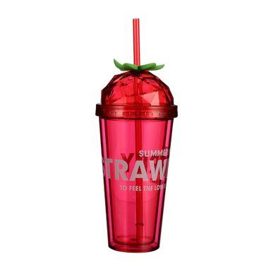 Vaso De Plástico Fruit Series Doble Capa Diseño De Fresa 420 ml