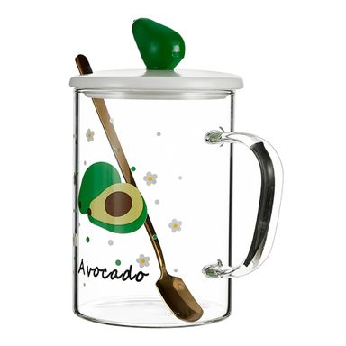 Tarro De Vidrio Fruit Series Diseño De Aguacate Con Cuchara Para Mezclar 450 ml